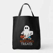 Kids Halloween Ghost Trick or Treat Personalized Tote Bag