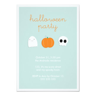 Kids Halloween Party Cute Skull Ghost Pumpkin 4.5x6.25 Paper Invitation Card