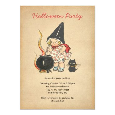 red_dress Kids Halloween Party Cute Witch's Brew Black Cat Card