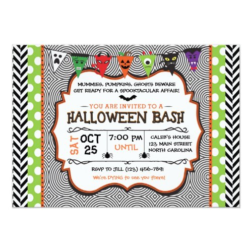 Kids Halloween Party Invitation, Birthday Invite