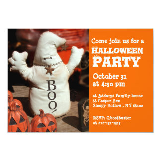Kids Halloween Party Invitation Ghost Boo