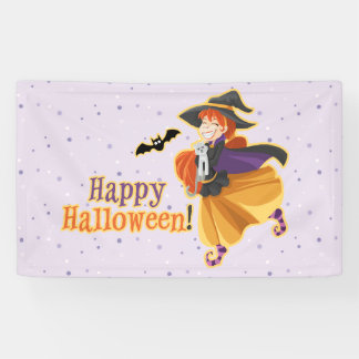 Kids Halloween Party Witch Bat Cat Moon Banner