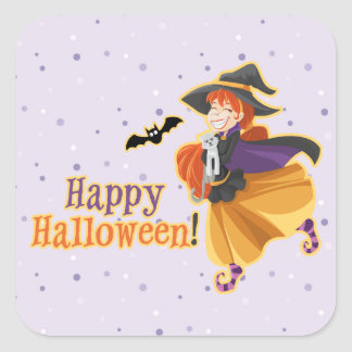 Kids Halloween Party Witch Bat Cat Moon Stickers