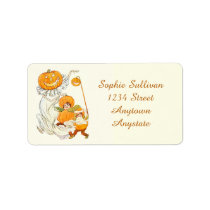 Kids Halloween Pumpkin Costume Party Address Label at Zazzle