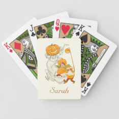 Kids Halloween Pumpkin Costume Party Bicycle Playing Cards at Zazzle