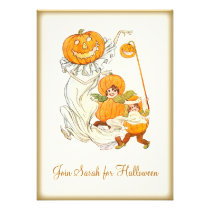 Kids Halloween Pumpkin Costume Party Custom Invites at Zazzle