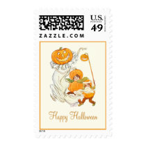 Kids Halloween Pumpkin Costume Party Postage Stamps at Zazzle