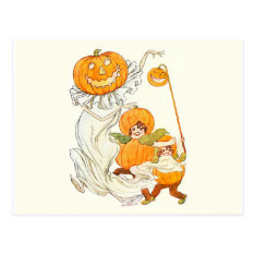Kids Halloween Pumpkin Costume Party Postcard at Zazzle
