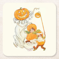 Kids Halloween Pumpkin Costume Party Square Paper Coaster at Zazzle