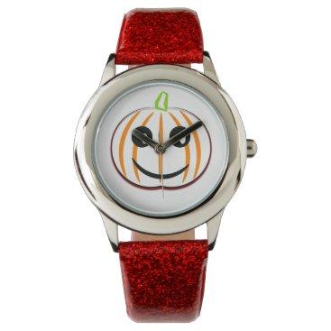 Halloween Themed Kids Halloween Pumpkin Custom Red Glitter Watch