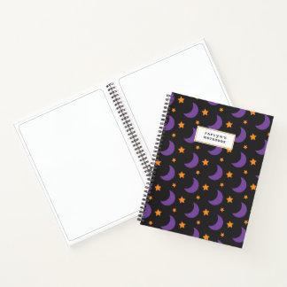 Kids Halloween Purple Moons and Stars Subject Notebook