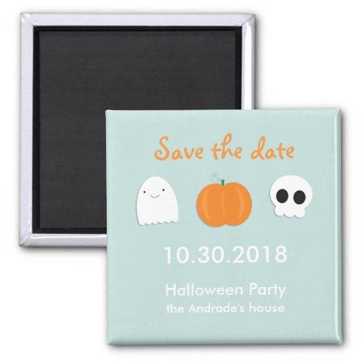 Kids Halloween Save Date Cute Ghost Skull Pumpkin Magnets