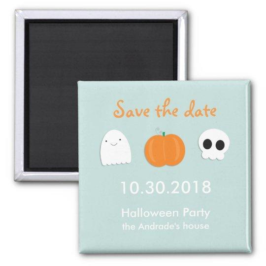Kids Halloween Save Date Cute Ghost Skull Pumpkin Magnet Zazzle Com