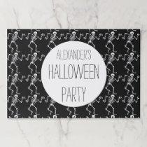 Kids Halloween Skeleton Pattern Black Personalized Paper Placemat