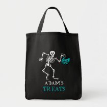 Kids Halloween Skeleton Trick Treat Teal Pumpkin Tote Bag