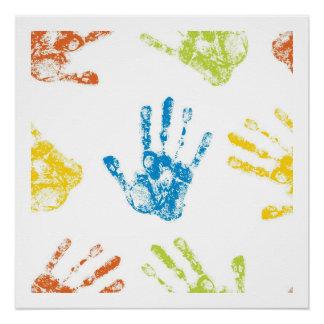 Kids Handprints in Paint Poster