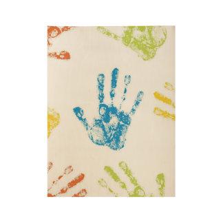 Kids Handprints in Paint Wood Poster