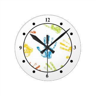 Kids Handprints Round Clock