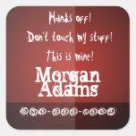 Kids Hands Off! Label - Modern Red Burgundy Custom Sticker