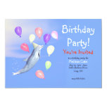 Kids Happy Birthday Party Dolphin 5x7 Paper Invitation Card