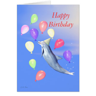 Kids Happy Birthday Party Dolphin Greeting Card