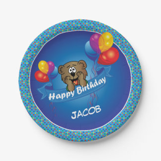 Kid's Happy Birthday Polka Dot Bear Paper Plate