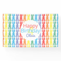 Kids Happy Birthday Rainbow Bunny Personalized Banner