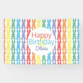 Kids Happy Birthday Rainbow Bunny Personalized Banner