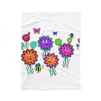 Kids Happy Flower Fleece Blanket