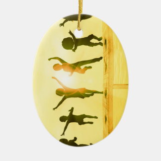Kids Having Fun and Playing by the Beach Ceramic Ornament