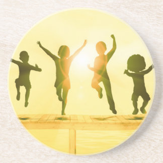 Kids Having Fun and Playing by the Beach Drink Coaster