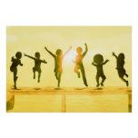 Kids Having Fun and Playing by the Beach Poster