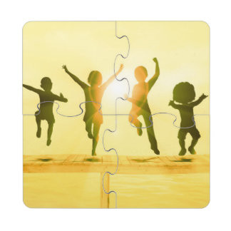Kids Having Fun and Playing by the Beach Puzzle Coaster