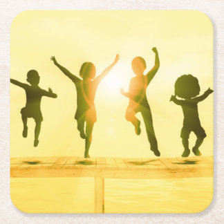 Kids Having Fun and Playing by the Beach Square Paper Coaster