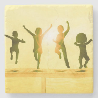 Kids Having Fun and Playing by the Beach Stone Coaster