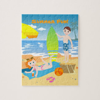 Kids having fun at the beach puzzles