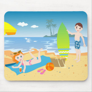 Kids having fun on the beach mouse pad