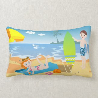 Kids having fun on the beach throw pillows