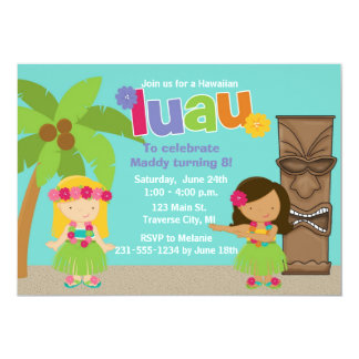 Kids Hawaiian Luau Party 5x7 Paper Invitation Card