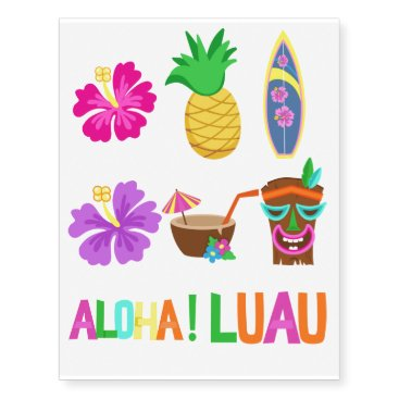 Beach Themed Kids Hawaiian Luau Party Temporary Tattoos