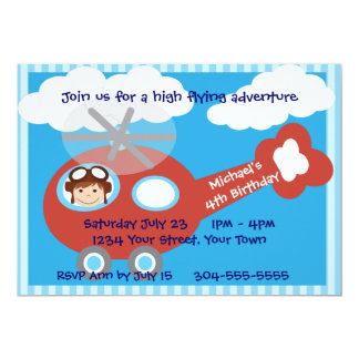 Kids Helicopter Birthday Party Card