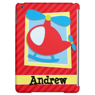 Kid's Helicopter; Scarlet Red Stripes Case For iPad Air