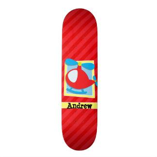 Kid's Helicopter; Scarlet Red Stripes Skate Deck