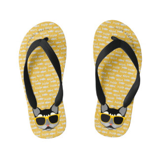 Kid's Hipster Mustache Cat with Yellow and White Kid's Flip Flops