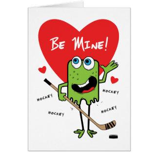 Kids Hockey Monster Valentines Card