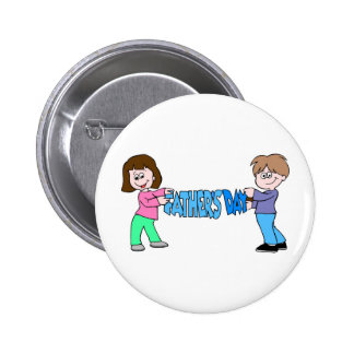 Kids holding Fathers Day Banner Buttons