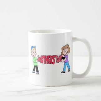 Kids holding Mothers Day Banner Coffee Mug