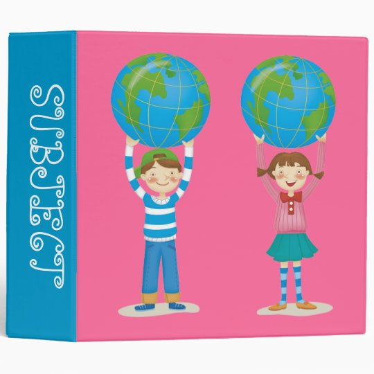 Kids Holding the Earth 3 Ring Binder