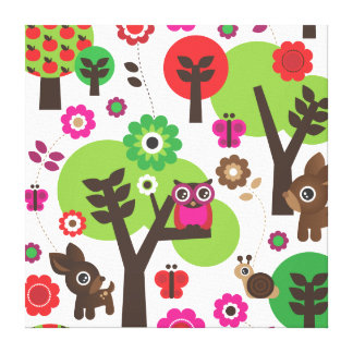 Kids home deco owl and deer canvas canvas print