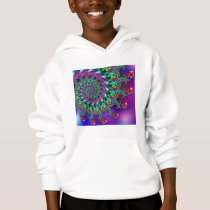 Kids Hooded Sweatshirt - Bokeh Fractal Purple